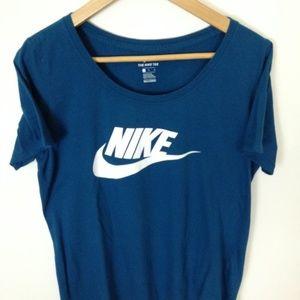 Nike Women 100% Cotton L Teal T-Shirt
